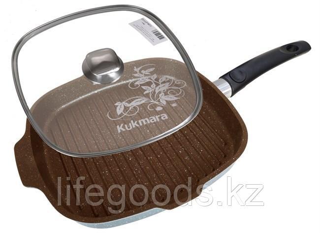 Сковорода-гриль квадратная 280х280мм со съемной ручкой, стеклянной крышкой, АП (кофейный мрамор) сгкмк282а