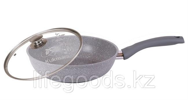 Сковорода 240/60мм с антипригарным покрытием (светлый мрамор) с ручкой и стеклянной крышкой смс24603а
