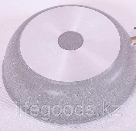 Сковорода 240/60мм с антипригарным покрытием (светлый мрамор) с ручкой и стеклянной крышкой смс24603а, фото 2
