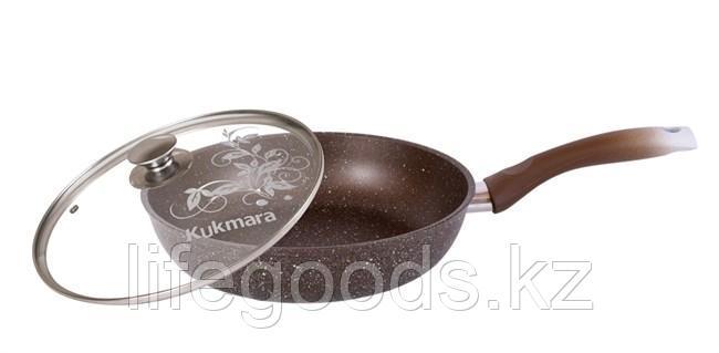 Сковорода 240/60мм с антипригарным покрытием (кофейный мрамор) с ручкой и стеклянной крышкой смк24603а