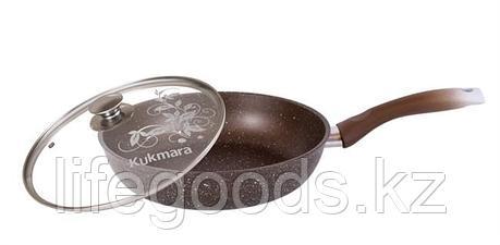 Сковорода 240/60мм с антипригарным покрытием (кофейный мрамор) с ручкой и стеклянной крышкой смк24603а, фото 2