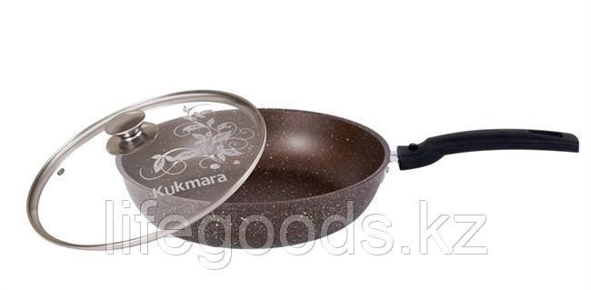Сковорода 260/60мм с антипригарным покрытием (кофейный мрамор), со съемной ручкой и стеклянной крышкой, фото 2