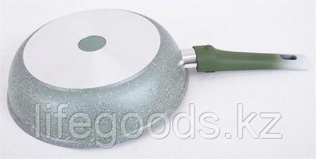 Сковорода 260/60мм с антипригарным покрытием (фисташковый мрамор), со съемной ручкой и стеклянной крышкой, фото 2