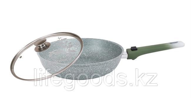 Сковорода 240/60мм с антипригарным покрытием (фисташковый мрамор), со съемной ручкой и стеклянной крышкой