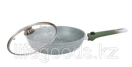 Сковорода 240/60мм с антипригарным покрытием (фисташковый мрамор), со съемной ручкой и стеклянной крышкой, фото 2