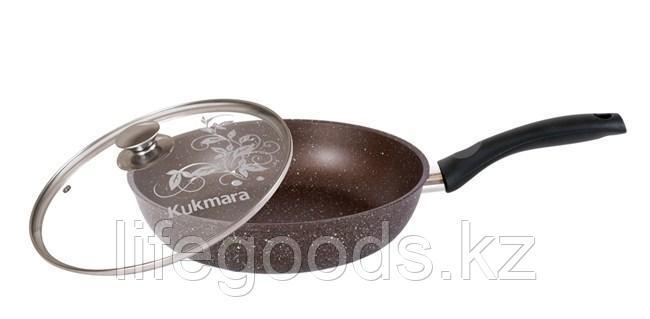Сковорода 260/60мм с антипригарным покрытием (кофейный мрамор) с ручкой и стеклянной крышкой смк26603а