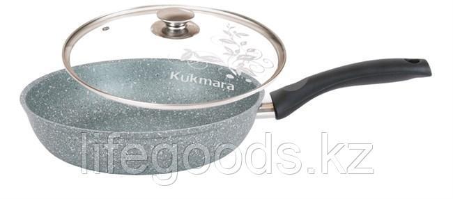 Сковорода 260/60мм с антипригарным покрытием (фисташковый мрамор) с ручкой и стеклянной крышкой смф26603а