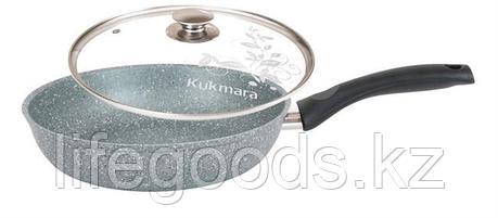 Сковорода 260/60мм с антипригарным покрытием (фисташковый мрамор) с ручкой и стеклянной крышкой смф26603а, фото 2