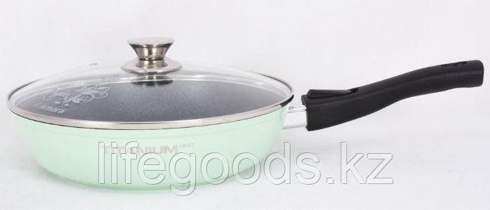 """Сковорода 240мм со съемной ручкой, стеклянной крышкой, АП, линия """"Titanium pro"""" (Green) стз2404"""