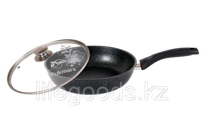 Сковорода 260/60мм с антипригарным покрытием (темный мрамор) с ручкой и стеклянной крышкой смт26603а