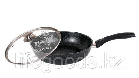 Сковорода 260/60мм с антипригарным покрытием (темный мрамор) с ручкой и стеклянной крышкой смт26603а, фото 2