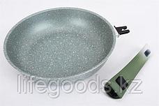 """Сковорода 260/60мм с антипригарным покрытием (фисташковый мрамор) со съемной ручкой """"soft touch"""" смф264а, фото 3"""