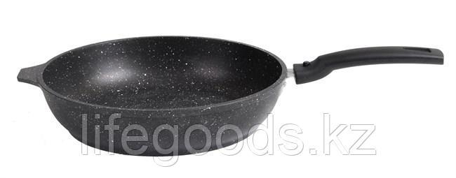 Сковорода 240/60 мм с антипригарным покрытием (темный мрамор) со съемной ручкой смт246а, фото 2