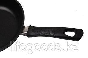 Сковорода 220/60мм(с утолщенным дном) с антипригарным покрытием, с ручкой, со стеклянной крышкой с223а, фото 2