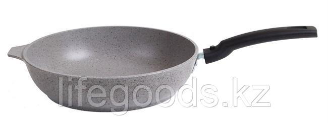 Сковорода 260/60 мм с антипригарным покрытием (светлый мрамор) со съемной ручкой смс263а, фото 2