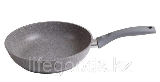 Сковорода 220/60мм с антипригарным покрытием (светлый мрамор) с ручкой смс227а, фото 2