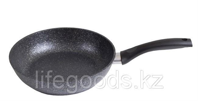 Сковорода 240/60мм с антипригарным покрытием (темный мрамор) с ручкой смт241а, фото 2