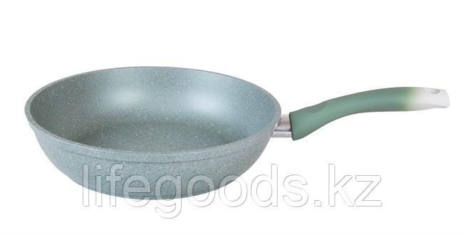 Сковорода 220/60мм с антипригарным покрытием (фисташковый мрамор) с ручкой смф227а