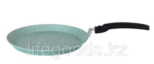 Сковорода блинная 220 мм с антипригарным покрытием (фисташковый мрамор) со съёмной ручкой сбмф220а