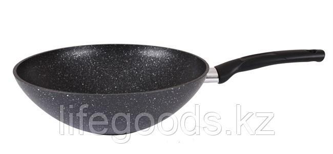 Сковорода WOK 280/95мм с антипригарным покрытием (темный мрамор) с ручкой свкмт280а, фото 2