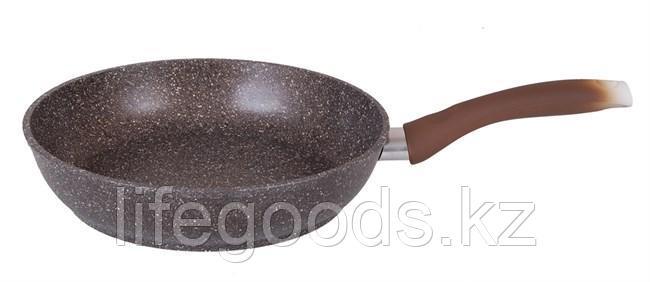 Сковорода 220/60мм с антипригарным покрытием (кофейный мрамор) с ручкой смк227а