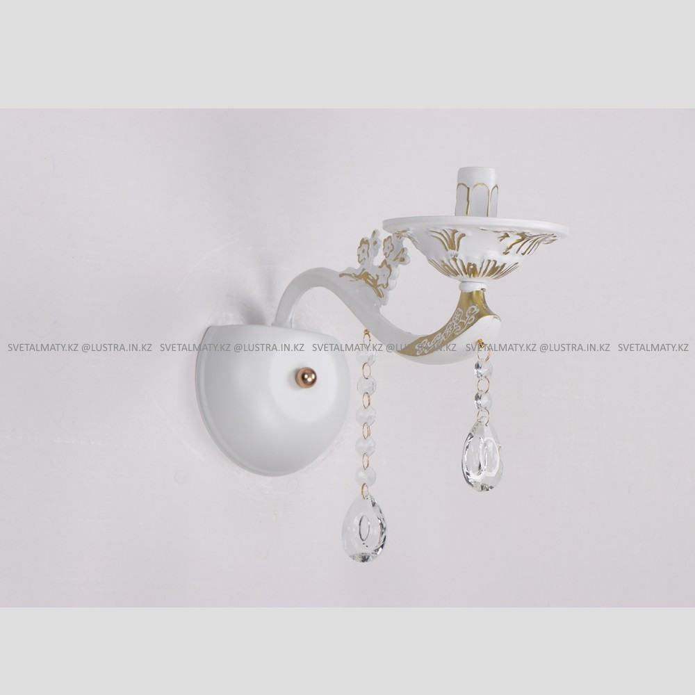 Настенная бра в Классическом стиле белая с хрусталем