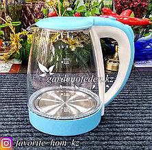 """Электрический чайник """"Tofol"""". Цвет: Прозрачный/Голубой. Объем: 2л. Мощность: 1800Вт."""