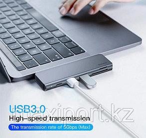 USB-концентратор Baseus Type-C to USB3.0x2/SD/TF/Type-C PD (CAHUB-K0G) для (Grey), фото 2