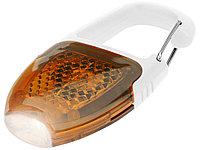 Брелок - фонарик с отражателем и карабином, оранжевый/белый