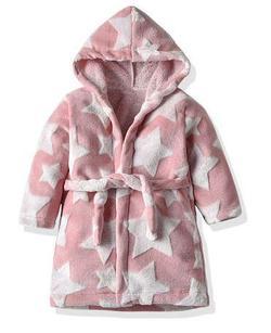 Флисовый халат со звездами, цвет розовый 120см