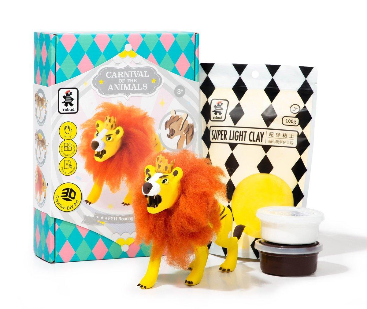 """Robotime Деревянные модели с цветной глиной """"Карнавальные животные Diy: Рычащий Лев"""""""