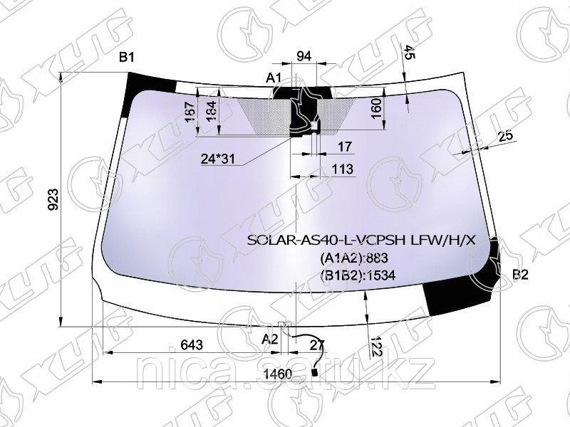 Стекло лобовое атермальное с обогревом щеток в клей TOYOTA RAV4 #C4# 13- (Solar-X  защита от ультраф