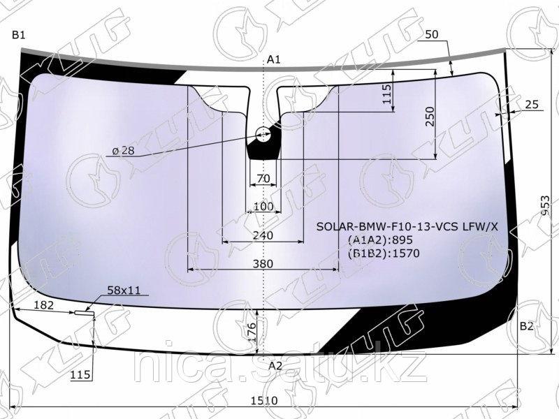 Стекло лобовое атермальное +дд в клей BMW 5-SERIES F10/11 4/5D 13-17 (Solar-X  защита от ультрафиоле