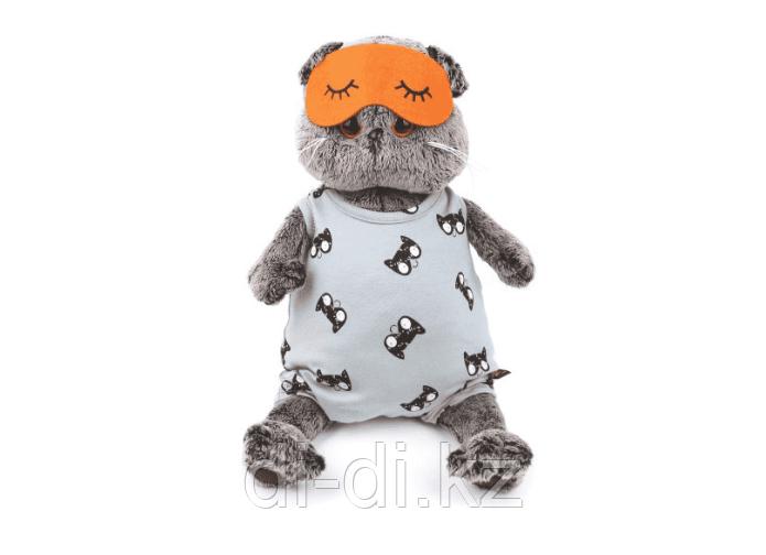 Мягкая игрушка Кот Басик в сером комбинезоне и маске для сна 25 см