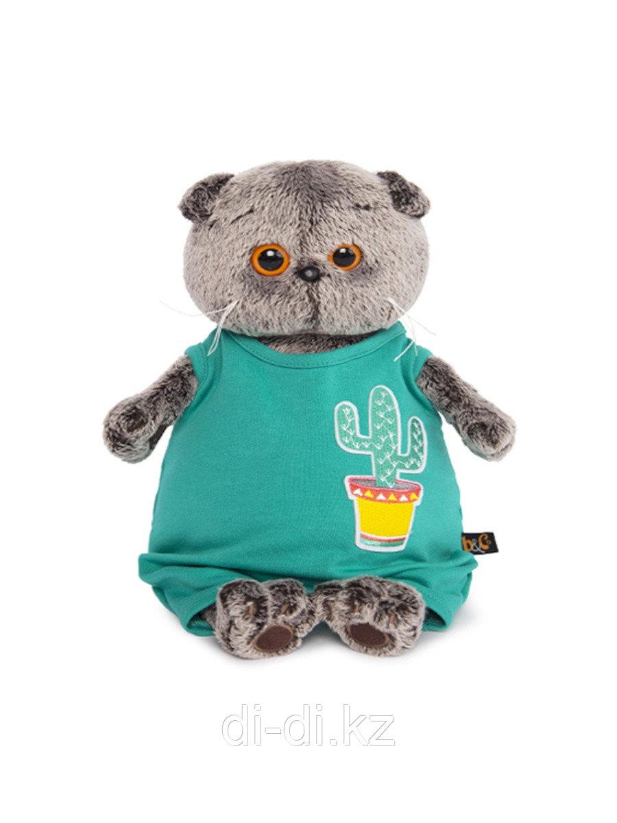 Мягкая игрушка BudiBasa Басик в изумрудном комбинезоне с кактусом, 25см