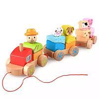 Деревянный паровозик с животными
