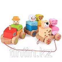Деревянный паровозик с животными, фото 2