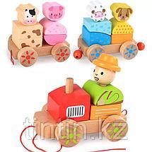 Деревянный паровозик с животными, фото 3