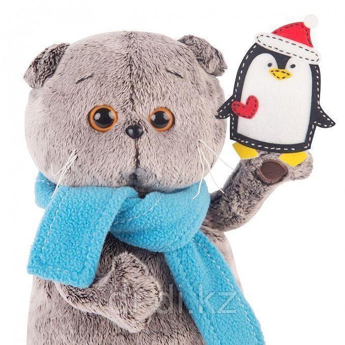 Басик в шарфике и с пингвином 25см