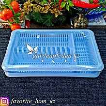 """Сушилка для посуды с поддоном, 1-а ярусная """"Лилия"""". Материал: Пластик. Цвет: Голубой."""
