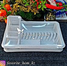 """Сушилка для посуды с поддоном, 1-а ярусная """"Лилия"""". Материал: Пластик. Цвет: Белый."""