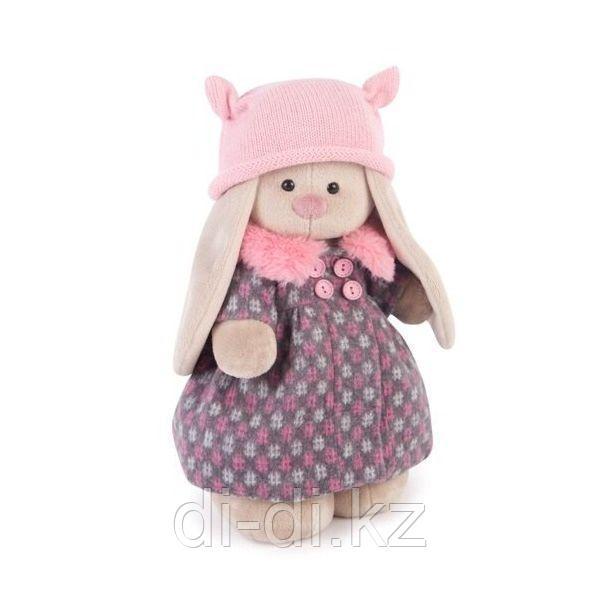 Зайка в пальто и розовой шапке 25см