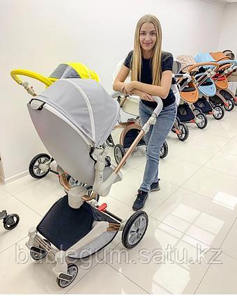 Детская коляска 2в1 Hot Mom 360º 2018  серый КОЖА