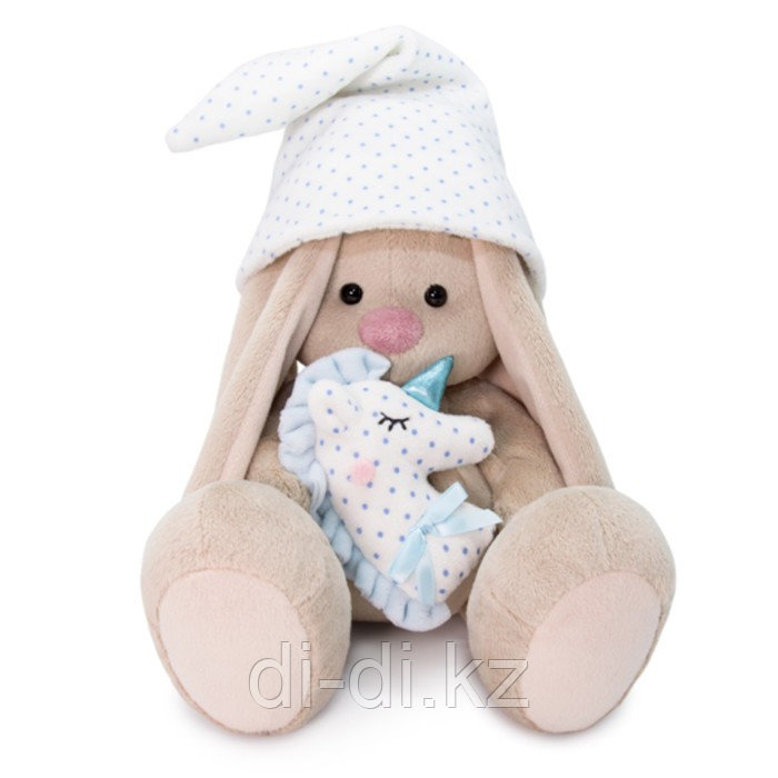 """Мягкая игрушка """"Зайка Ми с голубой подушкой - единорогом"""", 23 см"""