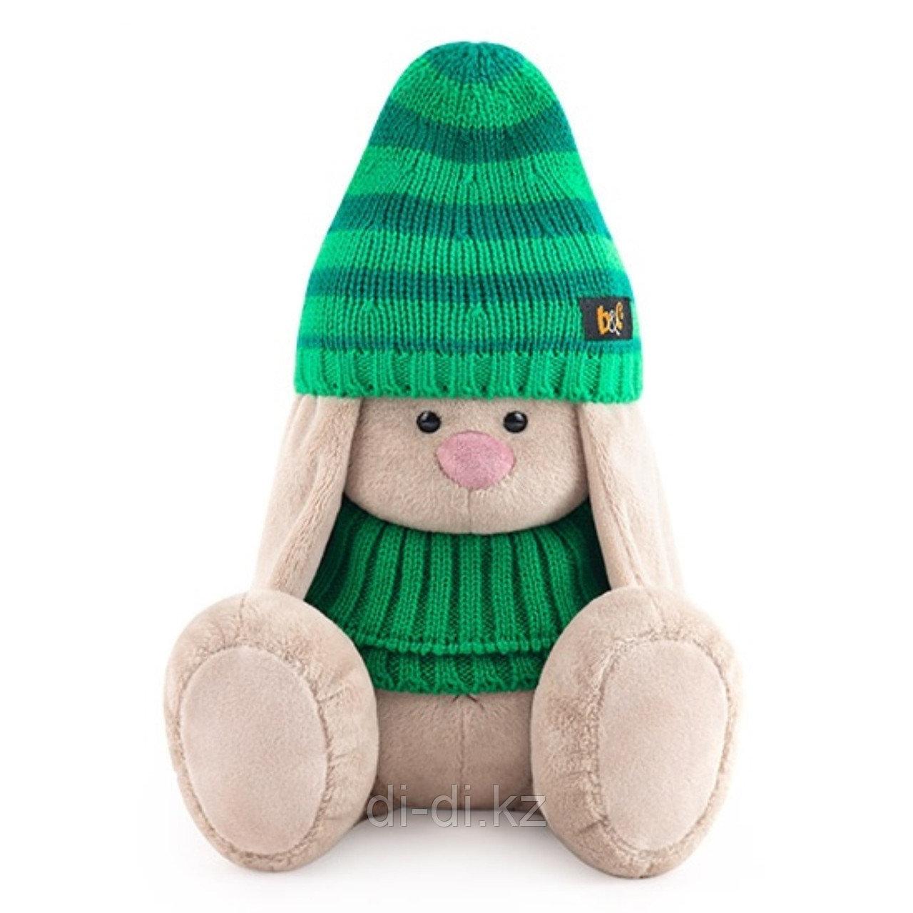 Мягкая игрушка «Зайка Ми в зеленой шапке и снуде», 23 см