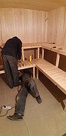 Финская сауна (с парообразователем). Размер = 3,3 х 2,8 х 2,4 м. Адрес: г. Алматы, ул. Жамакаева 24