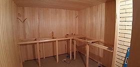 Финская сауна (с парообразователем). Размер = 3,3 х 2,8 х 2,4 м. Адрес: г. Алматы, ул. Жамакаева 29
