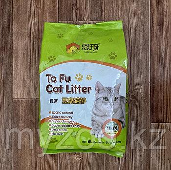 Наполнитель ToFu 6 л. зеленый чай |Тофу соевый, комкующийся наполнитель 2.5 кг|