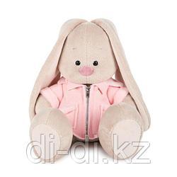 Зайка в розовой меховой курточке 18см