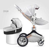 Детская коляска 2в1 Hot Mom 360º 2018  серый комбинированная